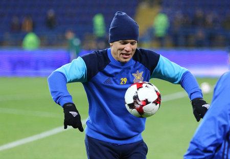 Kharkiv, Ukraine - November 15, 2016: Yevhen Konoplyanka of Ukraine warms up before the Friendly match against Serbia at Metalist stadium in Kharkiv, Ukraine Editorial