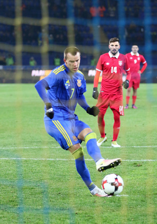 Kharkiv, Ukraine - November 15, 2016: Andriy Yarmolenko of Ukraine scores a penalty kick during Friendly match against Serbia at Metalist stadium in Kharkiv, Ukraine. Ukraine won 2-0