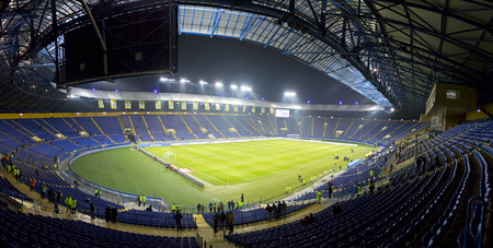 Kharkiv, Ukraine - November 15, 2016: Panoramic view of Metalist stadium before Friendly match between Ukraine and Serbia, Kharkiv, Ukraine Editorial