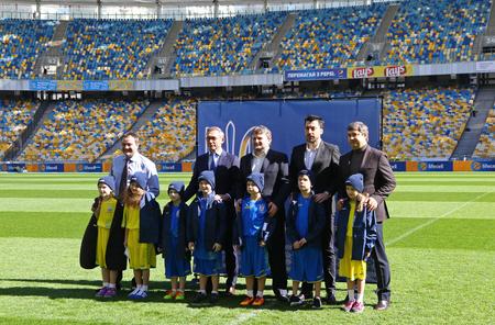 KYIV, UKRAINE - MARCH 17, 2017: JOMA presentation of the New jerseys of the National Football Team of Ukraine at Olympic stadium in Kyiv, Ukraine