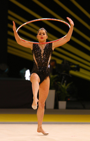 KYIV, UKRAINE - MARCH 18, 2017: Rhythmic gymnast Victoria Veinberg Filanovsky of Israel performs with Hoop during Rhytmic Gymnastics Grand Prix Deriugina Cup in Palace of Sports in Kyiv, Ukraine Editorial