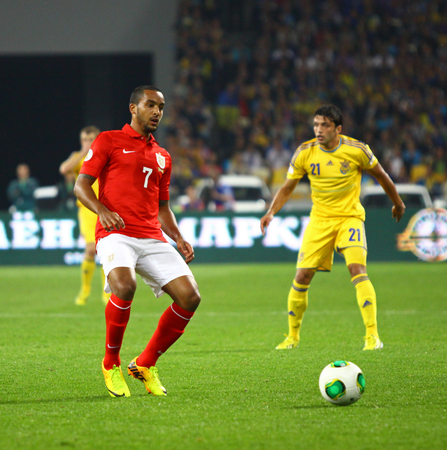 KYIV, UKRAINE - SEPTEMBER 10, 2013: Theo Walcott of England in action during FIFA World Cup 2014 qualifier game against Ukraine at NSC Olympic stadium in Kyiv