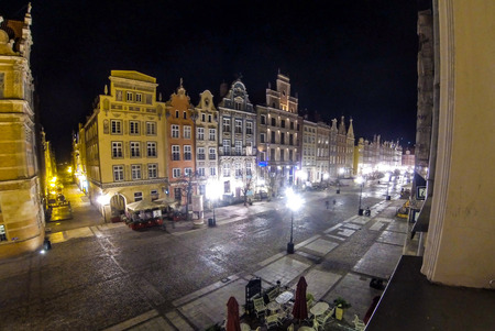 Long Market street (Polish: Dlugi Targ) at night. Gdansk, Poland. Famous pedestrianised street lined with scenic Renaissance buildings in the Old Town of Gdansk