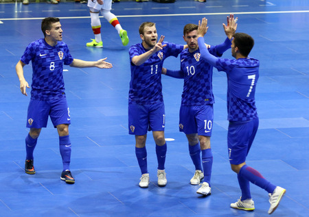 KYIV, UKRAINE - April 8, 2017: Croatian players celebrate after scored a goal during UEFA Futsal Euro 2018 qualifying game against Montenegro at Palats of Sports in Kyiv, Ukraine