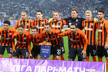 KYIV, UKRAINE - APRIL 21, 2017: Shakhtar Donetsk players pose for a group photo before the Ukrainian Premier League game against FC Dynamo Kyiv at NSC Olimpiyskyi stadium in Kyiv, Ukraine