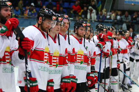 KYIV, UKRAINE - APRIL 22, 2017: Team of Hungary, the winner of the game against Ukraine during IIHF 2017 Ice Hockey World Championship Div 1 Group A. Palace of Sports in Kyiv, Ukraine. Hungary won 5-3 Editorial
