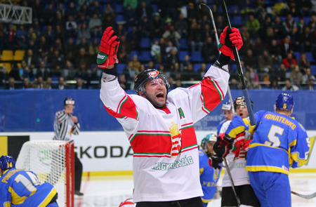 KYIV, UKRAINE - APRIL 22, 2017: Janos VAS of Hungary celebrates after scored a goal during IIHF 2017 Ice Hockey World Championship Div 1 Group A game against Ukraine at Palace of Sports in Kyiv