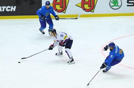KYIV, UKRAINE - APRIL 23, 2017. IIHF 2017 Ice Hockey World Championship Div 1 Group A game Kazakhstan v South Korea at Palace of Sports in Kyiv, Ukraine Editorial
