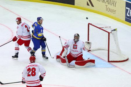 KYIV, UKRAINE - APRIL 23, 2017: IIHF 2017 Ice Hockey World Championship Div 1 Group A game Ukraine v Poland at Palace of Sports in Kyiv, Ukraine Editorial