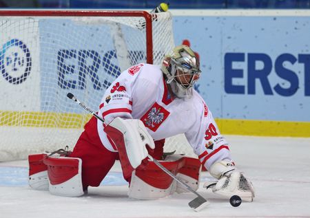KYIV, UKRAINE - APRIL 23, 2017: Goalkeeper Przemyslaw ODROBNY of Poland in action during IIHF 2017 Ice Hockey World Championship Div 1 Group A game against Ukraine at Palace of Sports in Kyiv, Ukraine