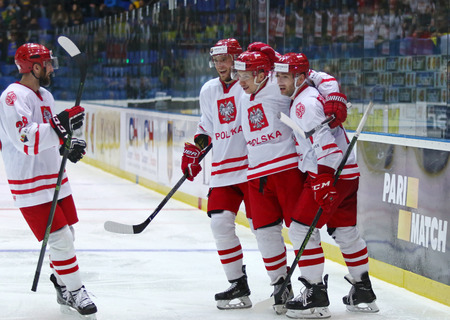 KYIV, UKRAINE - APRIL 23, 2017: Players of Poland National Team react after scored a goal during IIHF 2017 Ice Hockey World Championship Div 1 Group A game against Ukraine at Palace of Sports in Kyiv