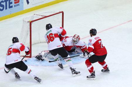 KYIV, UKRAINE - APRIL 24, 2017: IIHF 2017 Ice Hockey World Championship Div 1 Group A game Hungary v Austria at Palace of Sports in Kyiv, Ukraine