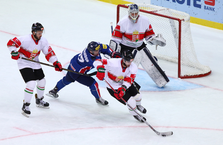 icehockey: KYIV, UKRAINE - APRIL 25, 2017. IIHF 2017 Ice Hockey World Championship Div 1 Group A game Hungary v South Korea at Palace of Sports in Kyiv, Ukraine Editorial