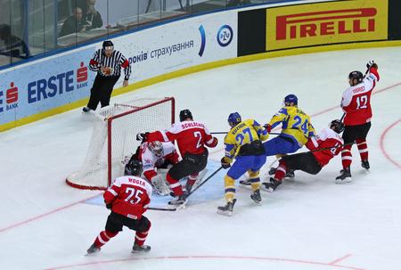 KYIV, UKRAINE - APRIL 25, 2017: IIHF 2017 Ice Hockey World Championship Div 1 Group A game Ukraine v Austria at Palace of Sports in Kyiv, Ukraine
