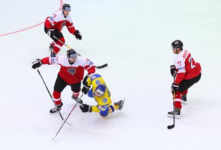 icehockey: KYIV, UKRAINE - APRIL 25, 2017: IIHF 2017 Ice Hockey World Championship Div 1 Group A game Ukraine v Austria at Palace of Sports in Kyiv, Ukraine