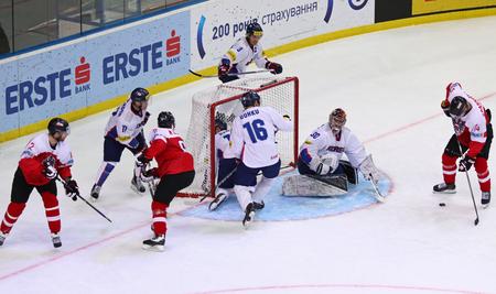 KYIV, UKRAINE - APRIL 27, 2017: IIHF 2017 Ice Hockey World Championship Div 1 Group A game Austria (Red jersey) v South Korea (White jersey) at Palace of Sports in Kyiv, Ukraine