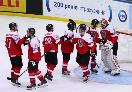 KYIV, UKRAINE - APRIL 27, 2017: Players of Austria National Team celebrate after the IIHF 2017 Ice Hockey World Championship Div 1 Group A game against South Korea at Palace of Sports in Kyiv, Ukraine