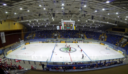 KYIV, UKRAINE - APRIL 27, 2017: Panoramic view of Palace of Sports Arena in Kyiv during IIHF 2017 Ice Hockey World Championship Div 1 Group A game Austria v South Korea