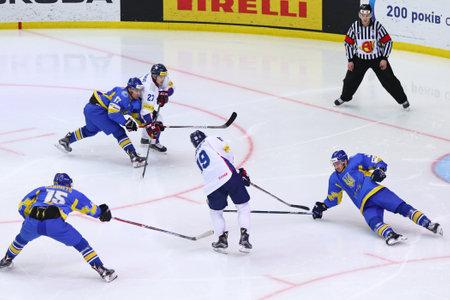 KYIV, UKRAINE - APRIL 28, 2017: IIHF 2017 Ice Hockey World Championship Div 1A game Ukraine (Blue jersey) vs South Korea (White jersey) at Palace of Sports in Kyiv, Ukraine Editorial