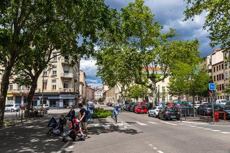 LYON, FRANCE - JUNE 15, 2016: Place Saint-Louis, the square in the 7th arrondissement of Lyon city, France