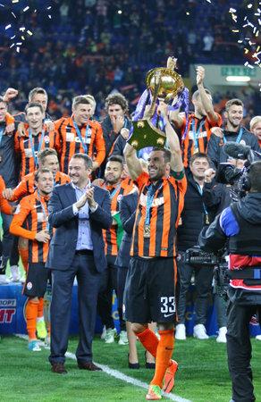 KHARKIV, UKRAINE - MAY 17, 2017: FC Shakhtar Donetsk - the winner of Cup of Ukraine 2017. Shakhtar won 1-0 in the final game against Dynamo Kyiv at OSC Metalist stadium in Kharkiv, Ukraine Editorial