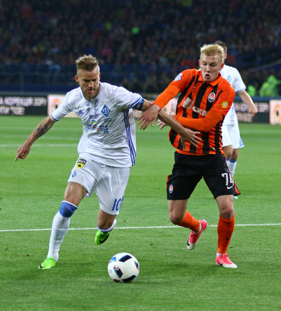 KHARKIV, UKRAINE - MAY 17, 2017: Andriy Yarmolenko of Dynamo Kyiv (L) fights for a ball with Viktor Kovalenko of Shakhtar Donetsk during their Cup of Ukraine Final game at OSC Metalist stadium