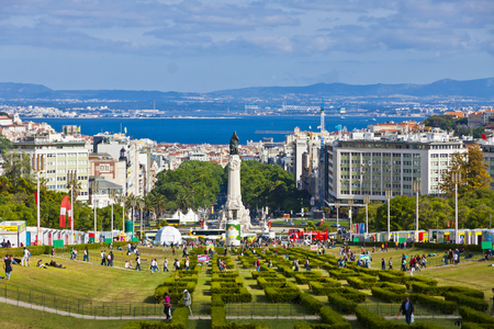 LISBON, PORTUGAL - JUNE 10, 2013: Eduardo VII Park, public park in center of Lisbon city, Portugal. The park occupies an area of 26 hectares to the north of the Avenida da Liberdade