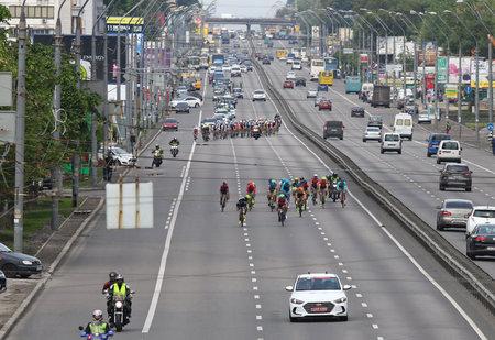 KYIV, UKRAINE - MAY 27, 2017: Cyclists ride on the streets of Kyiv city during Horizon Park Race Maidan. The Winner of the Race is Rasmus Esmann GINNERUP of Denmark, Team AURA ENERGI-CK AARHUS