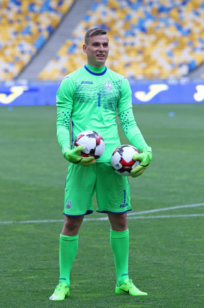KYIV, UKRAINE - JUNE 2, 2017: Goalkeeper of Ukraine National Football Team Andriy Lunin in action during Open training session at NSC Olimpiyskyi stadium in Kyiv, Ukraine