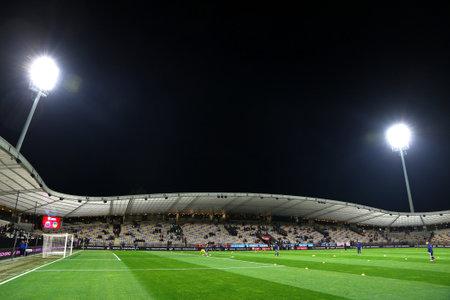 MARIBOR, SLOVENIA - NOVEMBER 17, 2015: Panoramic view of Stadion Ljudski vrt in Maribor, Slovenia before the UEFA EURO 2016 Play-off for Final Tournament game between Slovenia and Ukraine