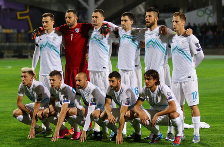 MARIBOR, SLOVENIA - NOVEMBER 17, 2015: Players of Slovenia National football team pose for a group photo before UEFA EURO 2016 Play-off game against Ukraine at Stadion Ljudski vrt in Maribor, Slovenia