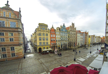 Long Market street (Polish: Dlugi Targ) in Gdansk, Poland. Famous pedestrianised street lined with scenic Renaissance buildings in the Old Town of Gdansk (Time Lapse)