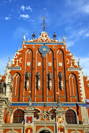 House of the Blackheads situated on Town Hall square in the historic centre of Riga city, Latvia. Famous Latvian attraction