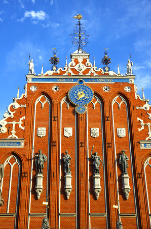 Details of House of the Blackheads situated on Town Hall square in the historic centre of Riga city, Latvia. Famous Latvian attraction Stock Photo
