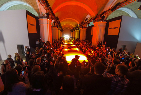 KYIV, UKRAINE - FEBRUARY 4, 2017: Panoramic view of main catwalk of Mystetskyi Arsenal hall during fashion AutumnWinter 2017-18 presentation by Katya SILCHENKO as part of 40th Ukrainian Fashion Week Editorial