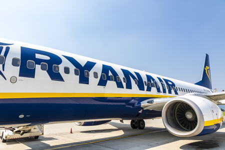 BERGAMO, ITALY - JUNE 12, 2017: Boeing 737-8AS (reg. number EI-DCK), operated by RyanAir in Bergamo Orio al Serio Airport (BGY). Ryanair is an Irish low-cost airline founded in 1984 Editorial