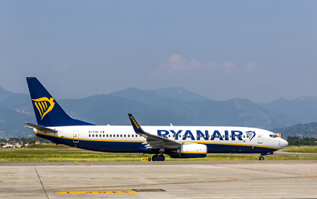 BERGAMO, ITALY - JUNE 12, 2017: Boeing 737-8AS (reg. number EI-FON), operated by RyanAir on the runway of Bergamo Orio al Serio Airport (BGY). Ryanair is an Irish low-cost airline founded in 1984