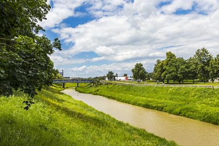 강 Laborec Michalovce시, 슬로바키아의 중심에 스톡 콘텐츠