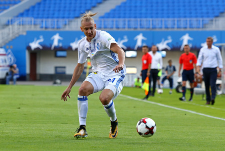KYIV, UKRAINE - JULY 18, 2017: Domagoj Vida of FC Dynamo Kyiv controls a ball during Ukrainian Premier League game against FC Chornomorets Odesa at Valeriy Lobanovskyi stadium in Kyiv, Ukraine