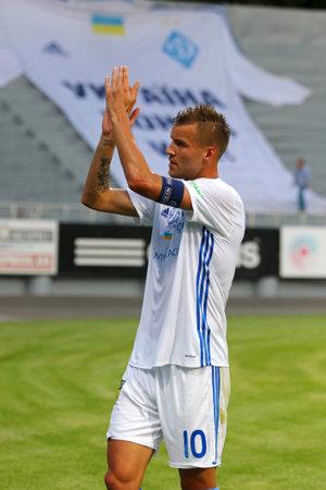striker: KYIV, UKRAINE - JULY 18, 2017: Andriy Yarmolenko thanks fans after the Ukrainian Premier League game against Chornomorets Odesa at Valeriy Lobanovskyi stadium in Kyiv, Ukraine Editorial