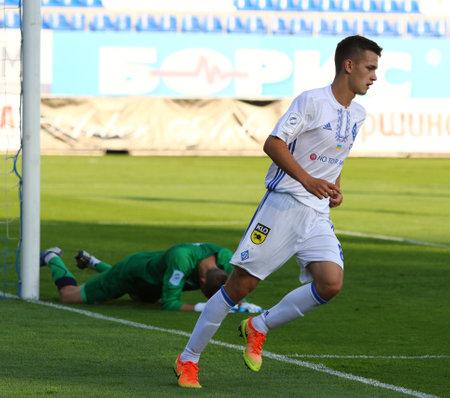 KYIV, UKRAINE - JULY 18, 2017: Volodymyr Shepelev of FC Dynamo Kyiv reacts after scored a goal during Ukrainian Premier League game against FC Chornomorets Odesa at Valeriy Lobanovskyi stadium in Kyiv