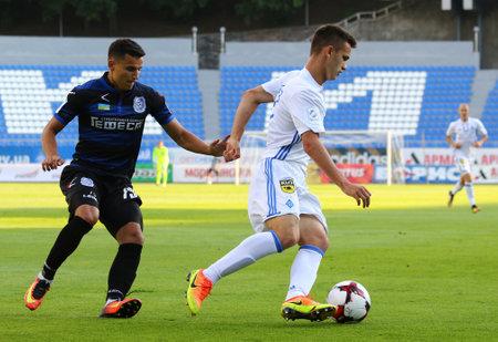 KYIV, UKRAINE - JULY 18, 2017: Volodymyr Shepelev of FC Dynamo Kyiv (R) fights for a ball with Maksym Tretiakov of FC Chornomorets Odesa during their Ukrainian Premier League game