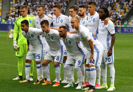 KYIV, UKRAINE - JULY 26, 2017: FC Dynamo Kyiv players pose for a group photo before UEFA Champions League 3rd qualifying round game against Young Boys at NSC Olimpiyskyi stadium in Kyiv, Ukraine Imagens - 82909062