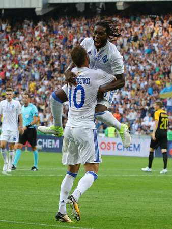 striker: KYIV, UKRAINE - JULY 26, 2017: FC Dynamo Kyiv players celebrate after scored a goal during UEFA Champions League 3rd qualifying round game against Young Boys at NSC Olimpiyskyi stadium in Kyiv Editorial