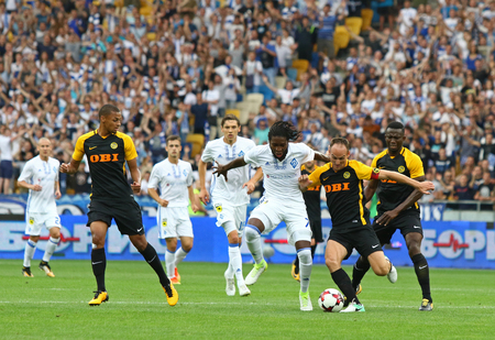 KYIV, UKRAINE - JULY 26, 2017: Dynamo Kyiv (in White) and Young Boys players fight for a ball during their UEFA Champions League 3rd qualifying round game at NSC Olimpiyskyi stadium in Kyiv, Ukraine