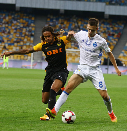 KYIV, UKRAINE - JULY 26, 2017: Volodymyr Shepeliev of Dynamo Kyiv (R) fights for a ball with Kevin Mbabu of Young Boys during their UEFA Champions League 3rd qualifying round game in Kyiv, Ukraine Editöryel