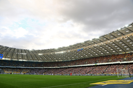 KYIV, UKRAINE - JULY 26, 2017: Panoramic view of NSC Olimpiyskyi stadium in Kyiv during UEFA Champions League 3rd qualifying round game between FC Dynamo Kyiv and Young Boys