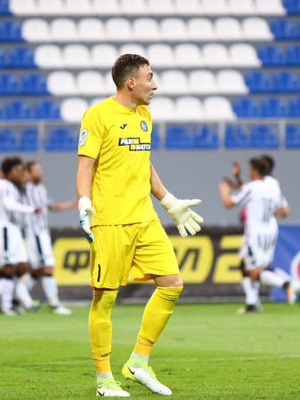KYIV, UKRAINE - JULY 27, 2017: Goalkeeper Zauri Makharadze of Olimpik Donetsk reacts after missed a goal during UEFA Europa League 3rd qualifying round game against PAOK at Lobanovskyi stadium in Kyiv Editorial