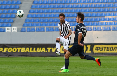 KYIV, UKRAINE - JULY 27, 2017: Stanislav Bilenkyi of Olimpik Donetsk (R) fights for a ball with Jose Canas of PAOK during their UEFA Europa League 3rd qualifying round game Editöryel