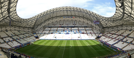 MARSEILLE, FRANCE - JUNE 21, 2016: Panoramic view of Stade Velodrome stadium before the UEFA EURO 2016 game Ukraine v Poland Editorial